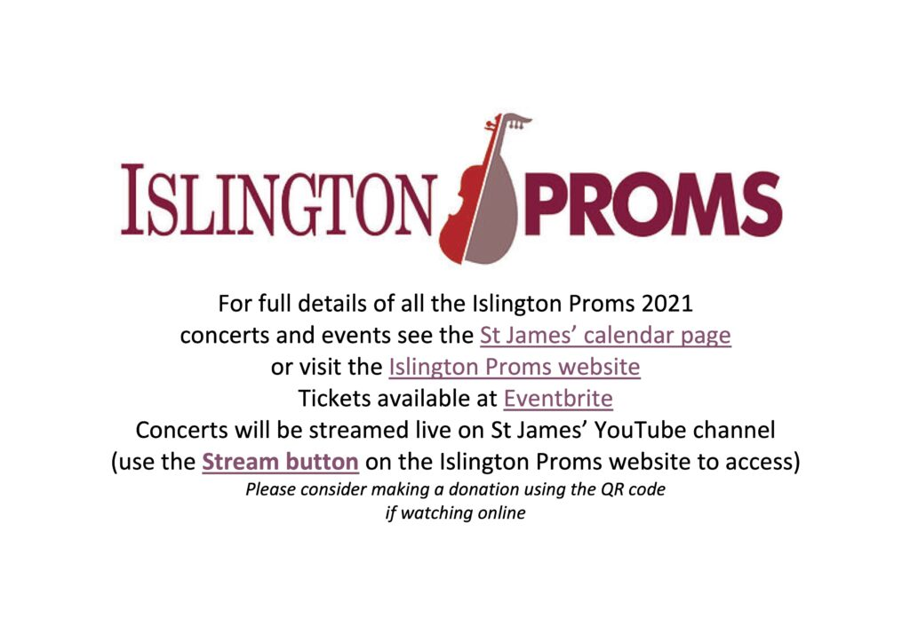 Islington Proms 2021 links to tickets and streaming links